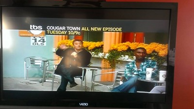 This is a still shot from a commercial preview of me dancing on Cougar Town with Courtney Coxx and Matthew Perry!