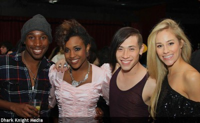 After working on Victorious, I went to celebrate Taja's bday. Dark Knight Media caught a photo of Taja, Chaz, Cheryl, and I.